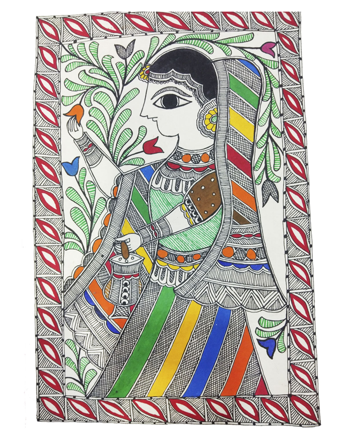 Goddess Sita in Pushpa Vaatika-Madhubani Painting